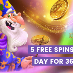 Davinci's Gold Casino Gives Five Free Spins Every Day for a Year